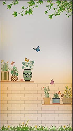Película De Ventana Las Mariposas Aman Las Flores(90*150Cm),Película De Ventana No Adhesiva,Privacidad Decorativa,Adhesivos Estáticos,Pegatinas De Ventana,Película De Vidrio,Informal Y Hermoso Anti-Uv