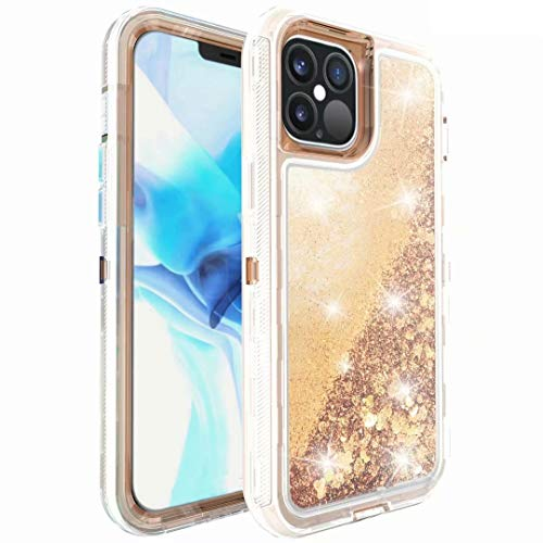 Phone Case for Samsung Galaxy S20 Ultra, Glitter Sparkle Heavy Duty Liquid Luxury Bling Clear Shockproof Full Body Protection Cover Diamond Floating Quicksand Protective Case for Girls Women Rose gold