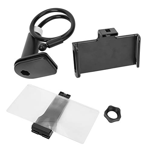 Soporte de escritorio ajustable con rotación de 360 grados con pantalla azul súper clara Soporte para teléfono móvil Juego de soporte para teléfono Soporte perezoso negro de 8 pulgadas Amplificador