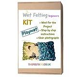 The Felt Box Kit de fieltro mojado. Alfombra de juego para escenas de playa, kit de fieltro húmedo fácil - fieltro húmedo para principiantes.
