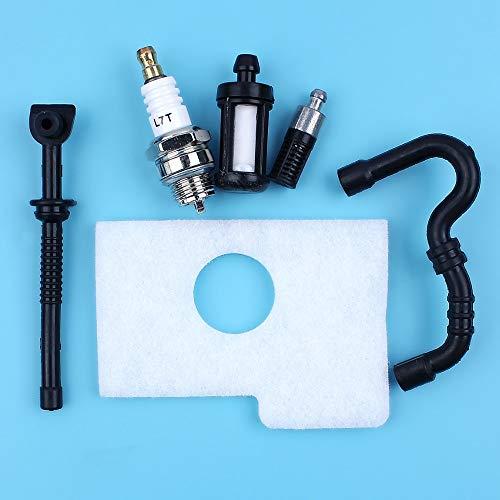 Haoyueda Filtro de aceite kit de servicio de combustible línea de aire de la manguera Bujía Compatible con STIHL 017 018 MS170 MS180 MS 170 180 motosierra de reemplazo de piezas de repuesto