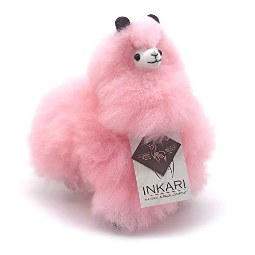 Inkari Alpaka Kuscheltier, super flauschig und süß aus echter Alpacka Wolle,, pink, rosa, 23 cm groß
