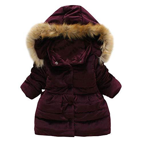 LSERVER Abrigo de Invierno Acolchado para Niñas Princesas Chaqueta Dulce con Capucha Lazo Mariposa, Vino, 12-18 Meses / 90