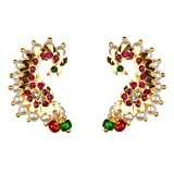 Archi Collection Fashion Stylish Traditional Wedding Party Wear Gold Plated Pearl CZ Peacock Earcuff Stud Earring Set Jewellery