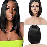 4x4 Lace Front Short Bob Wigs Brizilian Human Hair Lace Front 130% Density Virgin Human Hair Straight Hair Natural Color (10, bob)