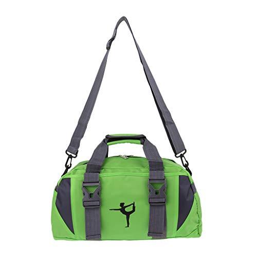Hellery Bolsa de Lona para Gimnasio de Deportes de Danza de Ballet con Portador de Esterilla de Yoga con Correa Ajustable - Verde L