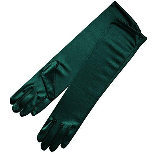 ZAZA BRIDAL 15.5' Long Shiny Stretch Satin Dress Gloves Below-The-Elbow Length 8BL-HT Green