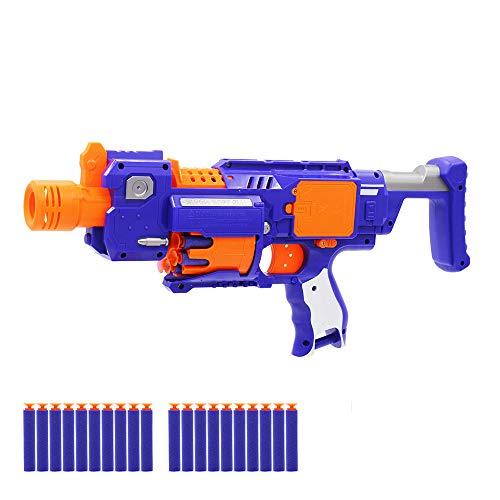 OYJD Pistola de Juguete de Bala Suave de Espuma eléctrica, Pistola de Juguete al Aire Libre para niños Elite Assault, 20 Dardos Especiales.