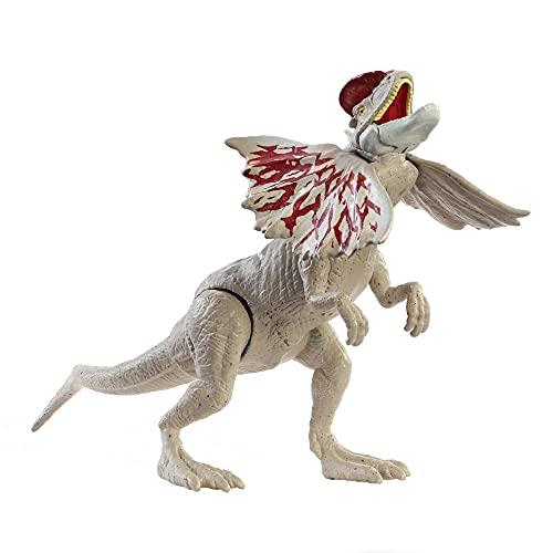 Jurassic World Fuerza Feroz Dilophosaurus Dinosaurio articulado, figura de juguete para niños (Mattel GWY30)