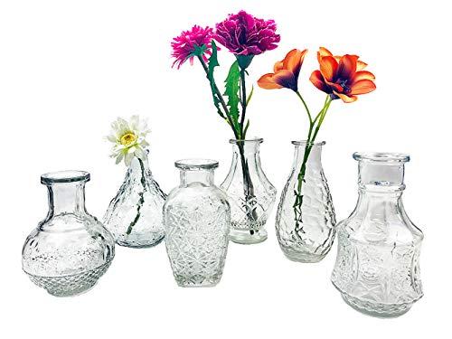 itsisa Glasvase Vintage, Klarglas Vase, H: 11,5-14,5 cm, 6er Set - schöne, kleine Vase Landhaus Stil zur Tischdekoration