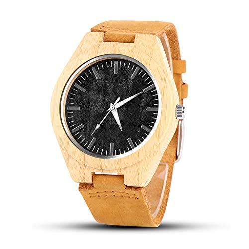 Orologio da uomo Reloj de Madera, Moda Industrial Hecho a Mano, Reloj Deportivo de Cuarzo for Hombre, Salud, Romance, Mejor Regalo, Reloj de Pareja (Color : A)