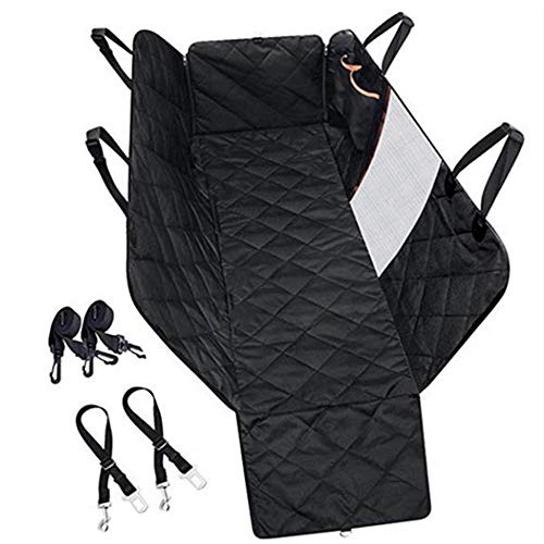 Autoshoppingcenter Dog Car Seat Protector Cover with Mesh Visual Window, Waterproof & Scratch Proof & Nonslip Pet Car Hammock Back Seat Cover with Side Flaps with Zipper【UK STOCK】