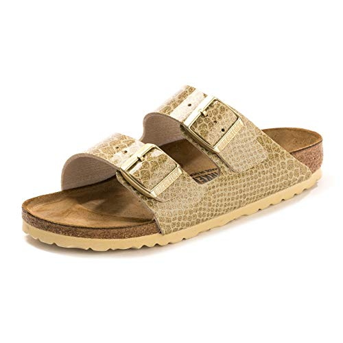 BIRKENSTOCK Damen Arizona Sandalen, Gold (Magic Snake Gold Magic Snake Gold), 38 EU