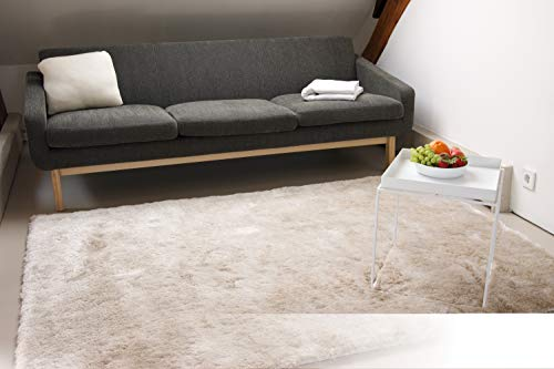 Exklusiver Hochflor Shaggy Teppich Satin beige/Creme 80x150 cm - edler, seidig glänzender Teppich