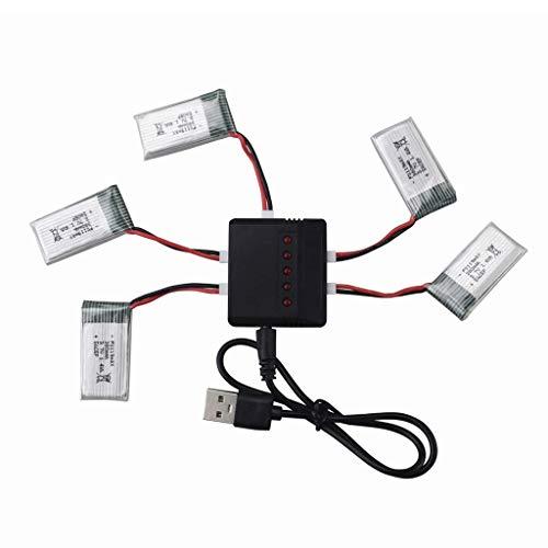 Drone Batteria 5PCS 3. 7V 380mAh Li Batteria + X5 Caricatore durevole per Hubsan X4 H107, H107C, H107L, Syma X11 X11C, HS170 HS170C F180C HS170G TOZO Q2020 E016H E016F FX801 V911S A120 XK A150 V966 c