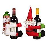 Favall - Juego de 2 bolsas de regalo para botellas de vino, diseño de Papá Noel y muñeco de nieve