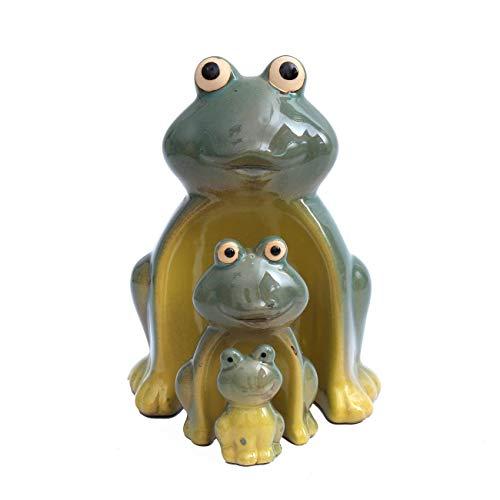 Juego de figuras decorativas de cerámica de Flanacom – Figuras de animales para interior y exterior – Artículo de decoración para el hogar y el jardín – Animales jardín decoración salón (rana familia)