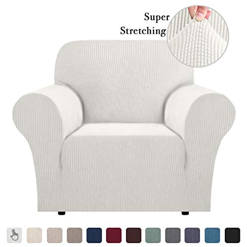 1 Piece Sofa Slipcover Slip Resistant Stylish Furniture Cover/Protector Jacquard Spandex Stretch Sofa Cover/Slipcovers - Ivory, Chair(1 Seater)