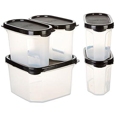 BINO 10-Piece Airtight Stackable Kitchen Storage Container Pantry Set, Black