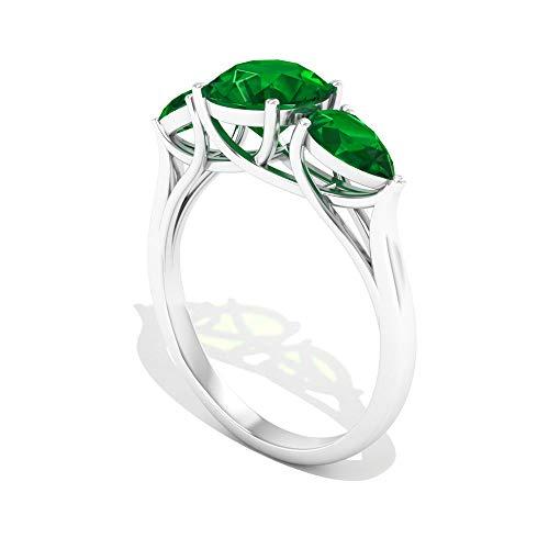 Rosec Jewels 10 quilates oro blanco pera redonda Green Esmeralda creada en laboratorio.