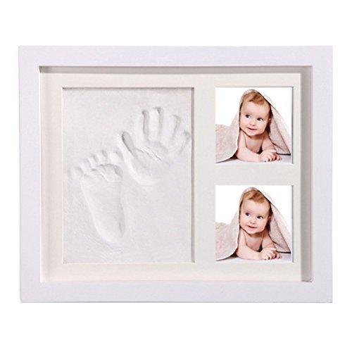 StillCool DIY bebé Handprint y Marco de huella Inkpad de fotos Regalos Babyparty seguros y elegantes Elegante blanco de madera sólida para recién nacidos/bebé Regalos