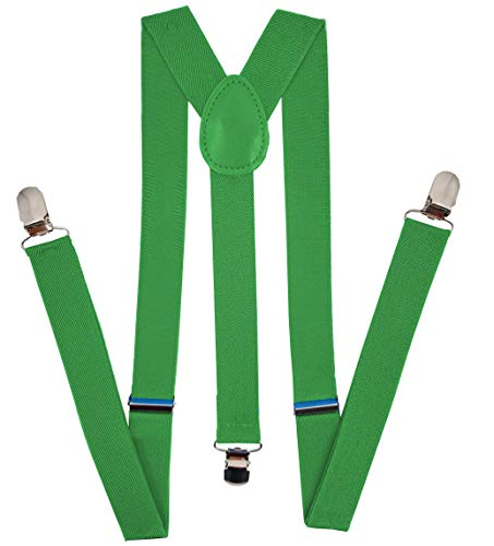 Navisima Adjustable Elastic Y Back Style Suspenders for Menand Women With Strong Metal Clips, Green (1 Pack)