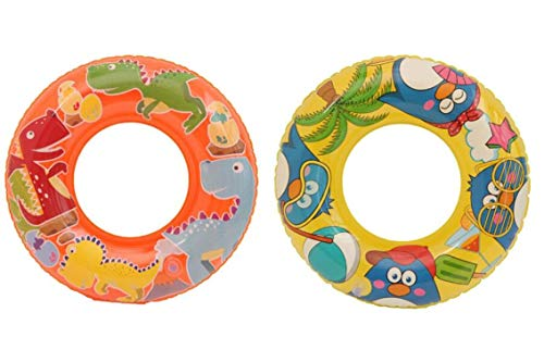 """Big summer Inflatable Pool Tubes 22""""(2 Pack), Dinosaur Swimming Ring for Kids, Penguin Swim Tube, Funny Pool Party Toys for Children Ages 3-8 Years Old"""