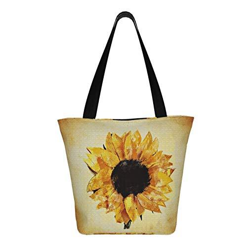 Teery-YY Bolsa de lona inspiradora floral de girasol grande para mujer, bolso de hombro casual, bolsa de mano, bolsa de viaje, reutilizable, multiusos, resistente, para compras, comestibles