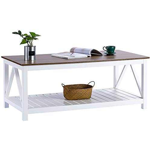 ChooChoo Farmhouse Coffee Table with Wood Top for Living Room, Rectangular Cocktail Table with Shelf, 47 White