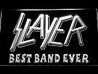 Slayer Best Band Ever LED看板 ネオンサイン ライト 電飾 広告用標識 W30cm x H20cm ホワイト