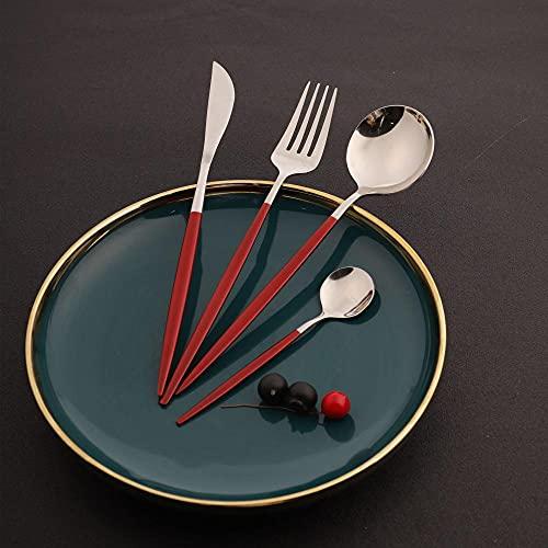 OUDEING Juego De Cubiertos De Cocina 36 Cuchillo de Acero Inoxidable, Conjunto de cucharas de Cuchillos de Ganado, Pulido de Espejo, Disponible para 9 Personas-Rojo + Plata / 24pcs