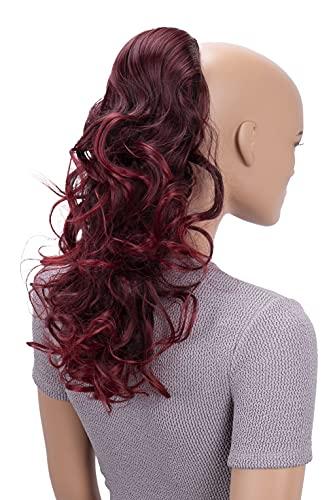 PRETTYSHOP 45cm Haarteil Zopf Pferdeschwanz Haarverlängerung Voluminös Gewellt Rot Mix PH28