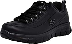 top 10 server shoes comfortable Skechers Trackel Trickel Work Shoes for Women at Work, Non-Slip, Black, 8 M US