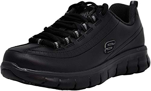 Skechers for Work Women's Sure Track Trickel Slip Resistant Work Shoe, Black, 9 XW US