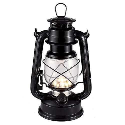 Vintage LED Hurricane Laterne, warm weiß Batterie betrieben Laterne, antike Metall hängen Delaterne mit Dimmer-Schalter, 15 LEDs, 150 Lumen für Innen- oder Außennutzung (schwarz)