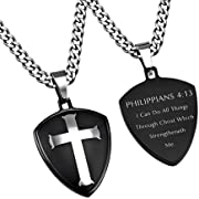 Philippians 4:13 Cross Shield Necklace, Christian Bible Verse, Thick Chain