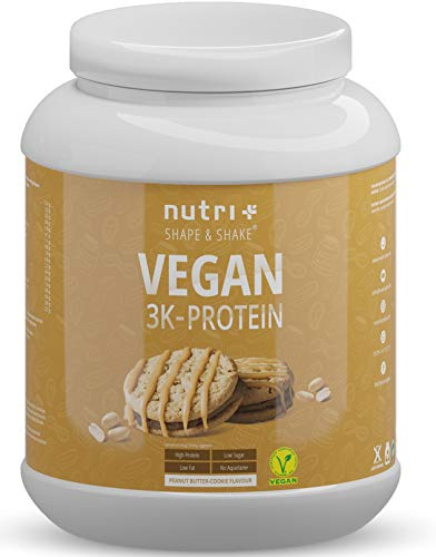 Vegan Protein Powder Peanutbutter Cookie 1kg - 83,2% Protein - 3k Plant Based Drink for Muscle Building and Recovery - Lactose Free Low Sugar - Nutri-Plus Shape & Shake - 1000g