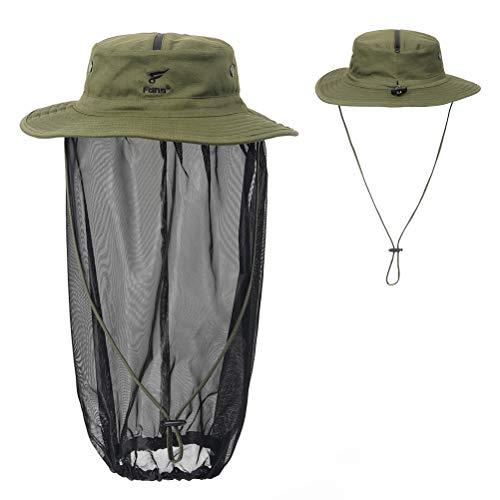 8 Fans Removable Head Net Hat Sun Hat Bucket Hat with Hidden Net Mesh Mask for Fishing Hiking Gardening Men Women Olive Green