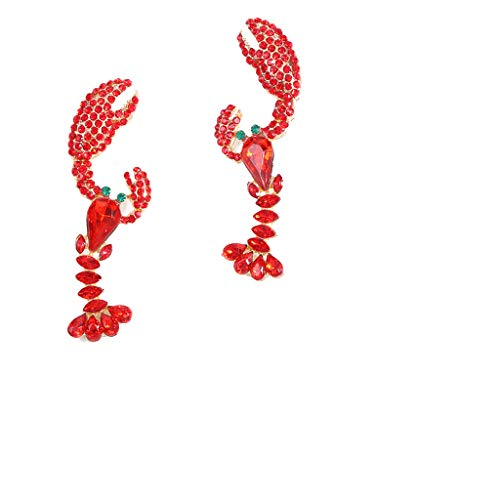 JERKKY Kreative Mode Ohrringe, Orangelili Ohrringe Böhmische mehrfarbige Tier Hummer geformte Kristall baumeln Ohrringe Aussage Schmuck Tropfen Ohrringe