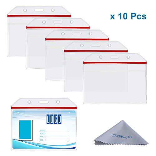 Wisdompro® - Porta badge in vinile trasparente e resistente con chiusura ermetica rossa, per diverse carte, confezione da 10 Horizontal