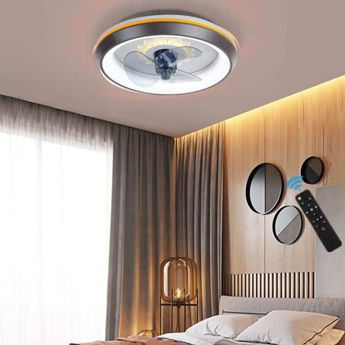 HGW Lámpara De Madera para Ventilador De Techo con Iluminación, LED De 80 W con Control Remoto/Aplicación Móvil, Velocidad Y Atenuación del Viento Ajustables, Techo Ultra Silenciosa