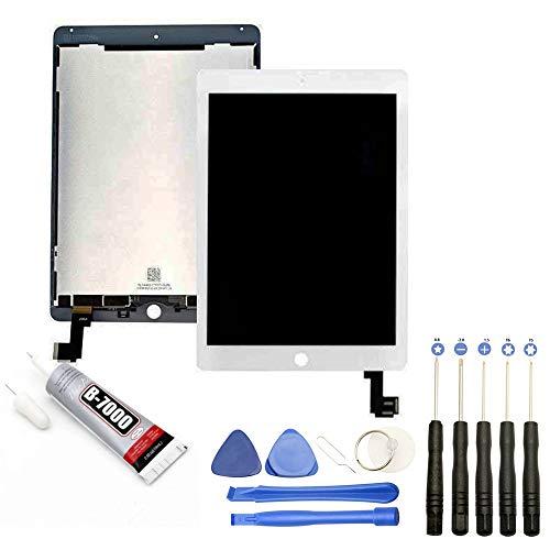 JUANIO Pantalla Completa: Vidrio+LCD Compatible con iPad Air 2 Blanco + Herramientas + Pegamento B7000