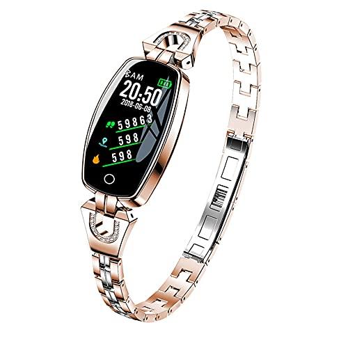 OKMJ Pulsera Pulsera Inteligente para Mujer, rastreadores de Fitness con Monitor de presión Arterial, Moda de Lujo Reloj Inteligente Correa Impermeable Monitor de Ritmo cardíaco Actividad de sueño