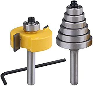 Activists 1/4 Inch Shank Rabbet Router Bit with 6 Bearings Set for 1/8