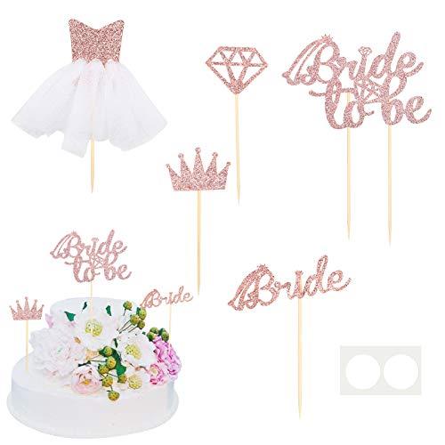 AirSmall 5STK Bride to Be Cupcake Topper Set JGA Deko Junggesellenabschied Accessoires Brautkleid Diamant Ring für Brautdusche Hochzeit Verlobung Hen Party Polterabend