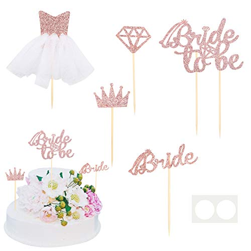 AirSMall Rose Gold Glitter 1 Bride to Be Cake Topper and 4 Cupcake Toppers with Diamond,Crown,Bride,3D Wedding Dress and,for Bachelorette Party,Hen Party,Bridal Shower Supplies Engagement Decorations