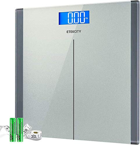 Etekcity High Precision Digital Body Weight Bathroom Scales Weighing Scale with Step-On Technology, 28st/180kg/400lb, Backlight Display, Slim Design, Elegant Silver