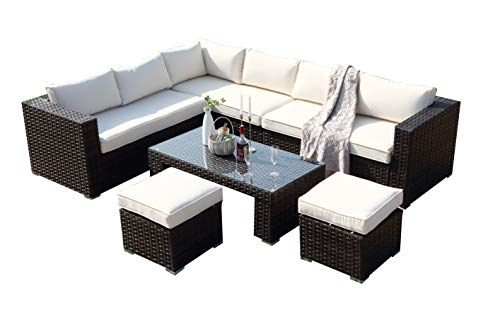 Ecosunny Rattan Garden Furniture Polo 8 seaters Convertible Corner Sofa (288cm x 225cm x 81cm) Coffee Table Set with stools and Raincover - Flat pack - Mixed Brown Rattan with Cream Cushion