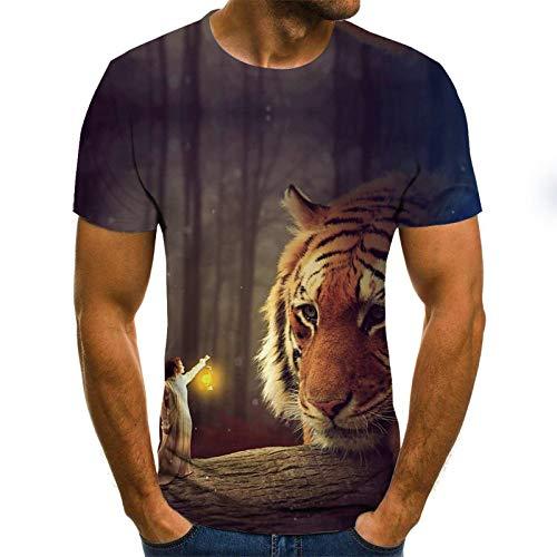 JSWBNMU T-Shirt Imprimé en 3D,Angel Unisexe Animal Tigre T-Shirt Imprimé Pull Col Rond Manches Courtes Décontracté Grande Taille D'Été Lâche T Shirts Tops Fashion Vêtements Couple Sauvage,6XL