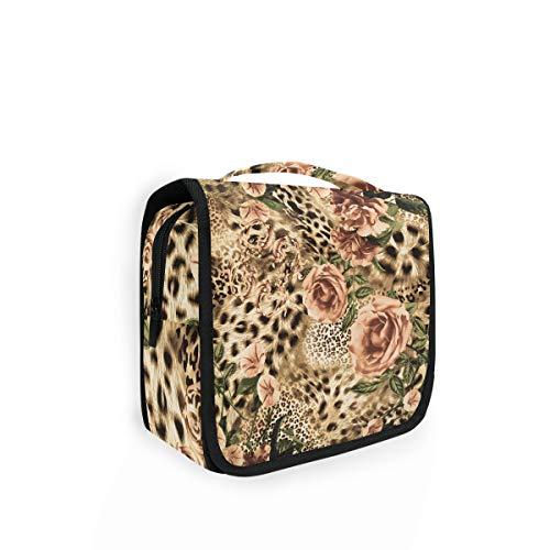 XIXIKO Kosmetiktasche mit Leopardenmuster, zum Aufhängen, faltbar, für Damen und Mädchen